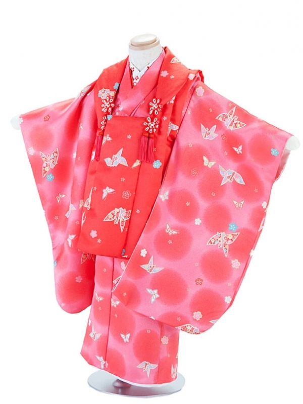 七五三(3女)T310ピンク・折り鶴と蝶