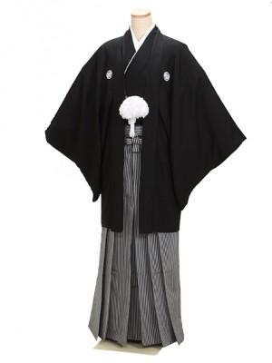 高級黒紋付羽織袴 正絹 4L 縞袴 大きい 父 結婚