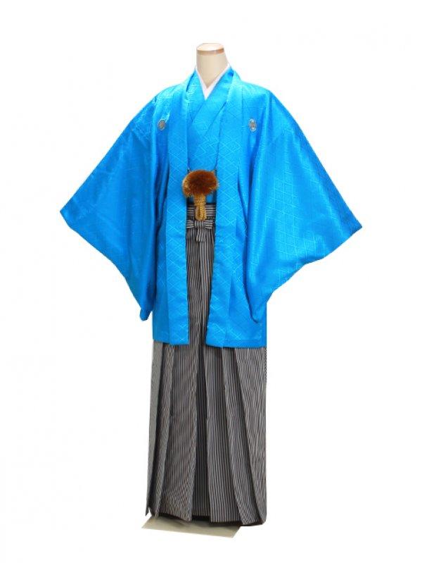 男紋付袴 卒業式 成人式 ブルー LLサイズ