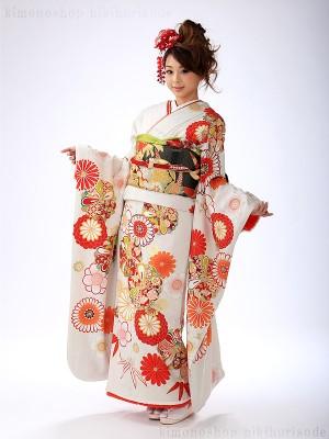 白引き振袖 菊 桜 FA0390