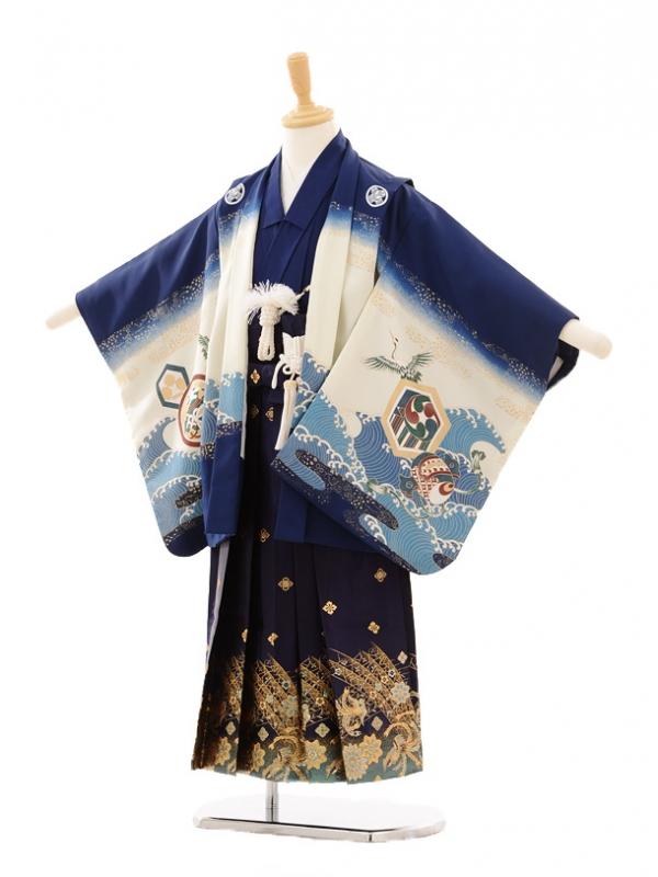 七五三(5歳男袴)D021 紺地鷹に宝舟×袴紺