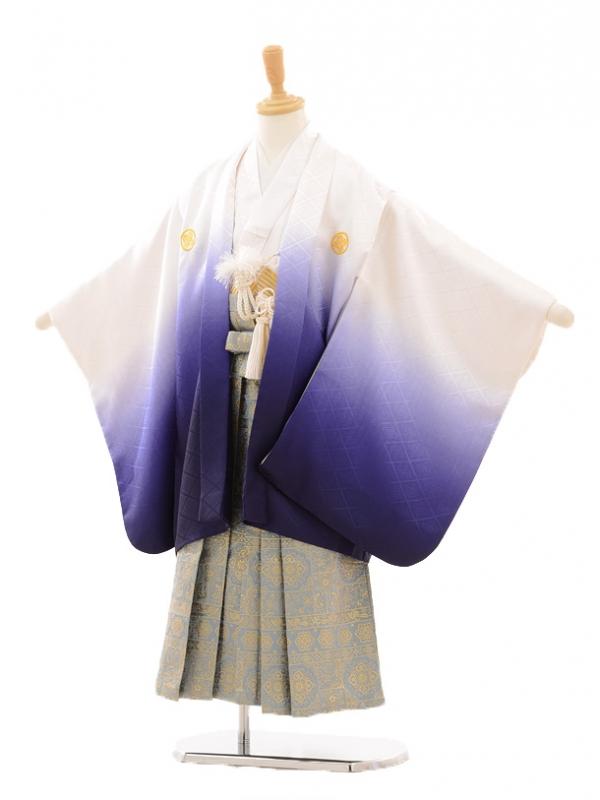 七五三(5歳男袴)D022 白紫ぼかし×袴グレー