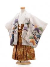 七五三(3男袴)D005 白グレー市松兜×袴ク金茶