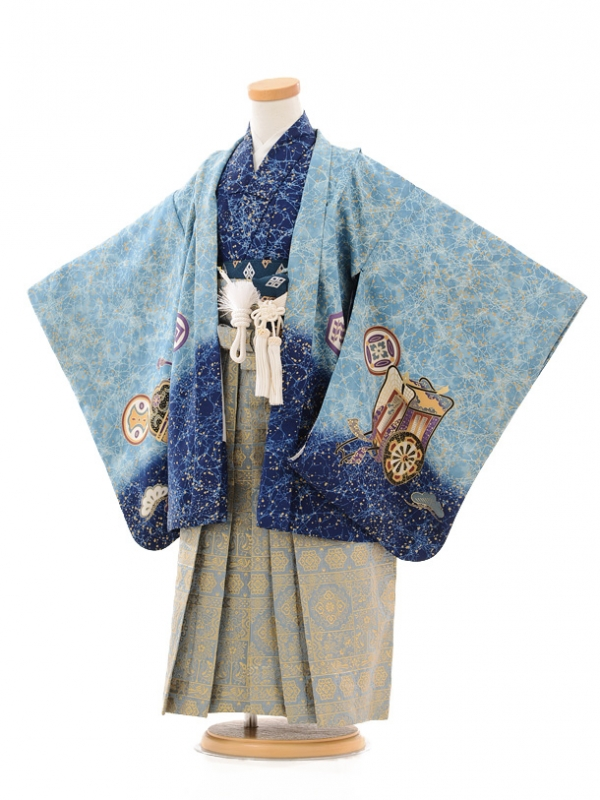 七五三(5歳男袴)D007 ブルーかぶと×袴グレー