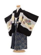 七五三(3男袴)D002 黒格子鷹×袴紺