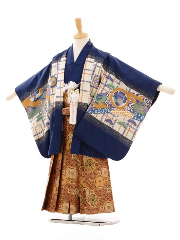 七五三(5歳男袴)D032 紺鷹紋×袴金茶