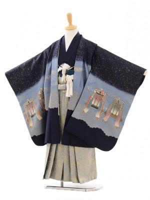 七五三(5歳男袴)D031 紺ラメかぶと×袴グレー