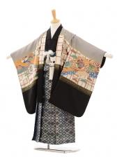 七五三(5歳男袴)D030 グレー黒鷹×袴ブルー