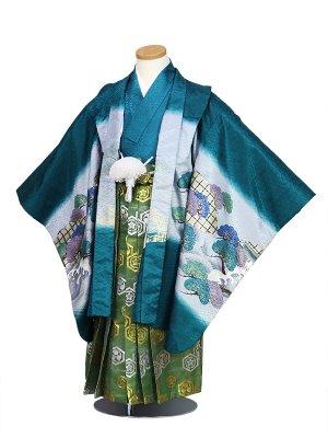 七五三(5才男袴)水色、松、馬、ヨロイ、お城O(袴ライン縦)