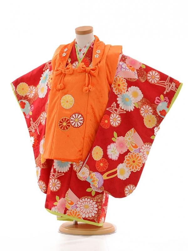 七五三レンタル(3歳女被布)D037 ぷちぷり オレンジ×赤
