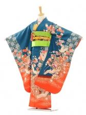 七五三(7女結び帯)D061 ブルー地裾赤ぼかし