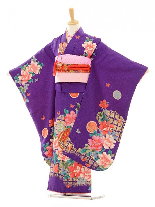 七五三レンタル(7女結び帯)D065 紫ぼたん