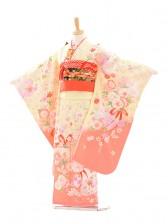 七五三(7女結び帯)D052 クリーム色花リボン