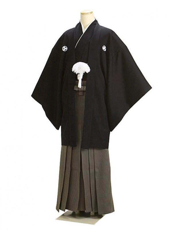 高級黒紋付羽織袴 正絹 Mサイズ 茶袴 父 結婚式