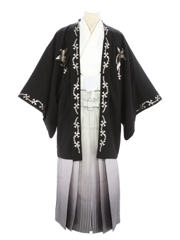 紋付袴305/黒シルバークロス