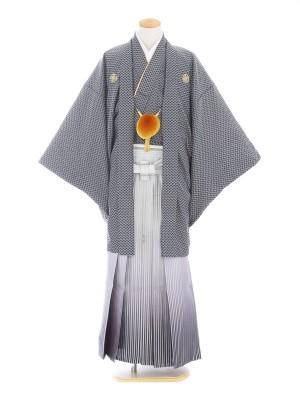 紋付袴242/グレー/白シルバー黒ぼかし