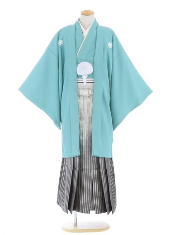 紋付袴103/青磁色/黒金線ぼかし