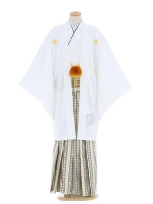 紋付袴273/白/ゴールドスター