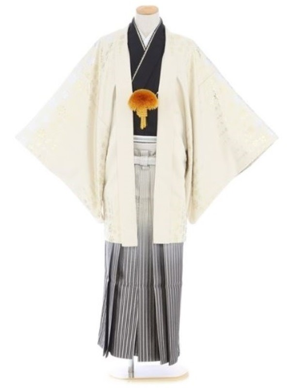 紋付袴312/白黒/黒金線ぼかし