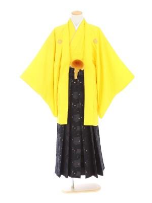 紋付袴202/黄/黒地花びらスパイダー柄