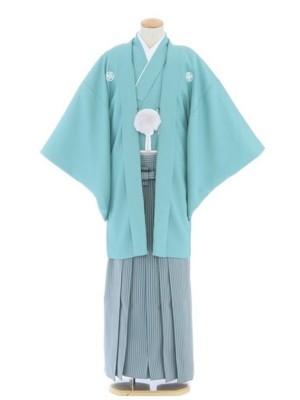 紋付袴101/青磁色/水色グレーストライプ