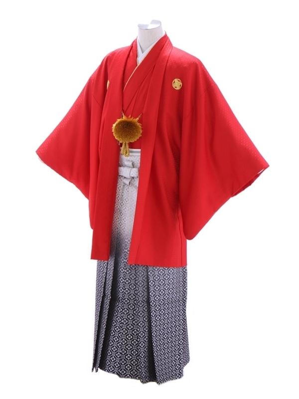 紋付袴188/赤/シルバー花菱ぼかし