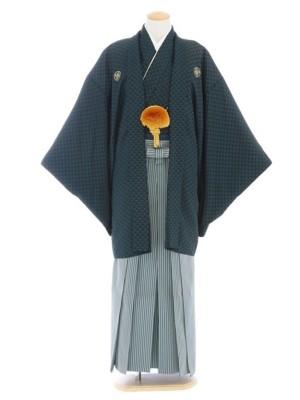 紋付袴109/緑/グレー深緑縞