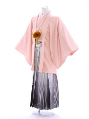 紋付袴147/ピンク/白シルバー裾ぼかし