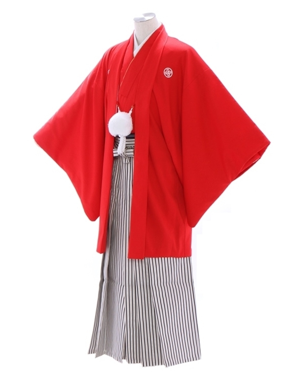 紋付袴232/赤/白シルバーストライプ