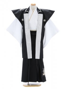 紋付袴317/白/黒に龍