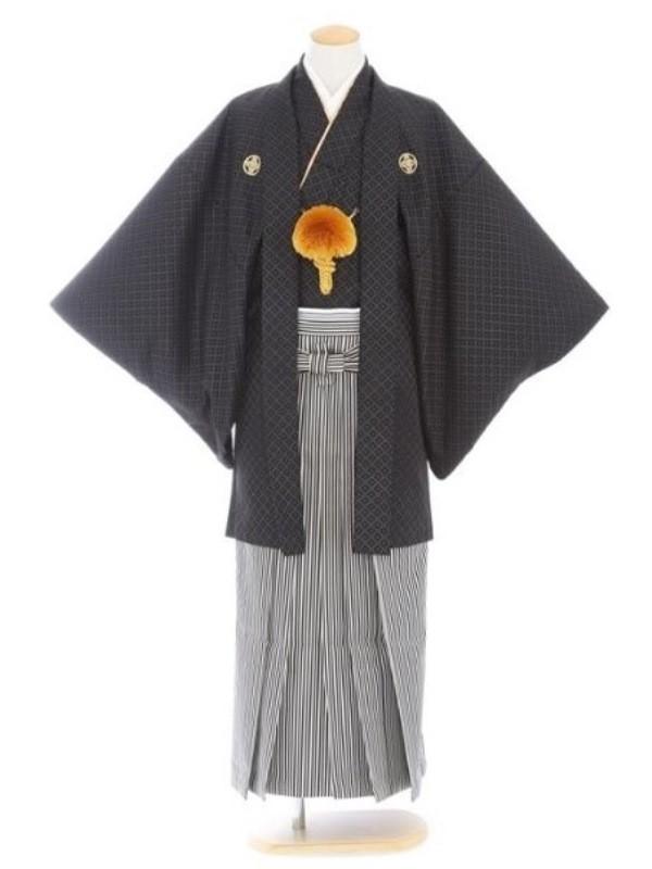 紋付袴62/黒/黒シルバー白柄