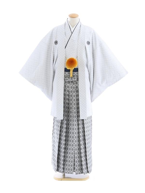 紋付袴123/白/銀地若松柄