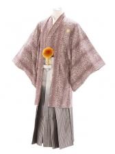 紋付袴207/豹柄/白シルバー裾黒縞ぼかし