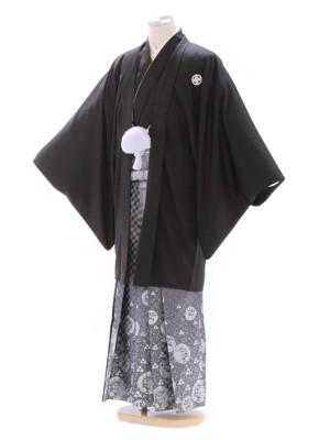 紋付袴308/黒/シルバー龍うろこ柄