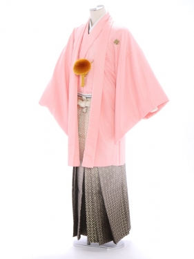 紋付袴233/ピンク/ゴールド花菱ぼかし