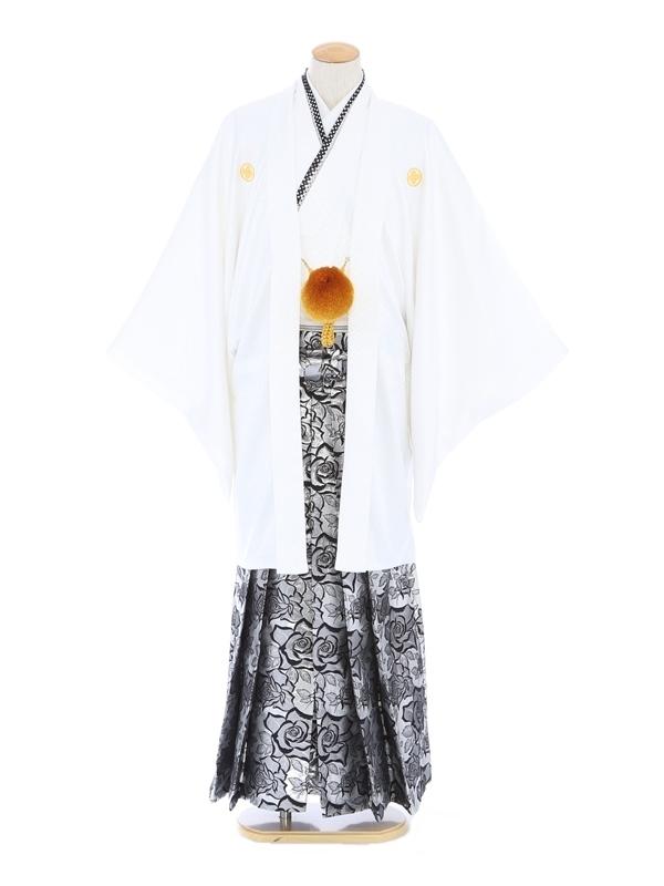 紋付袴256/白/シルバーバラ柄
