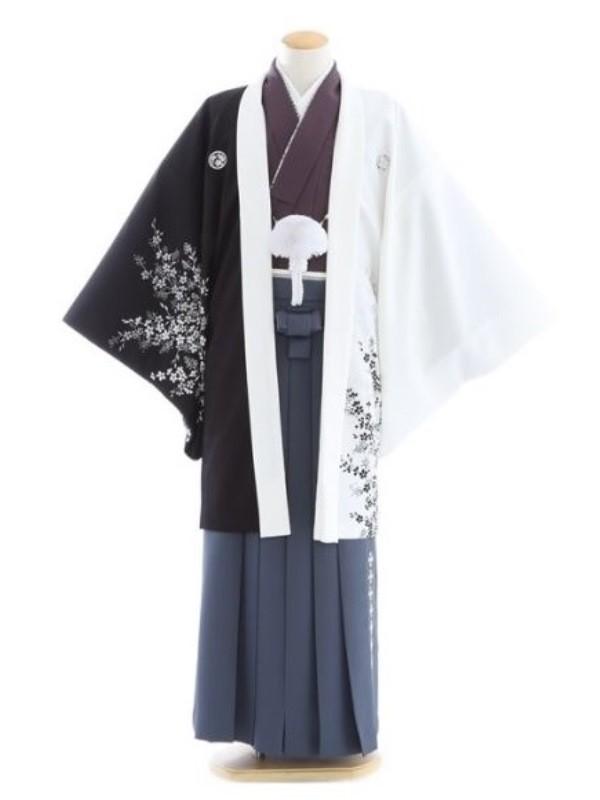 紋付袴313/白黒/渋グレー手裏剣刺繍