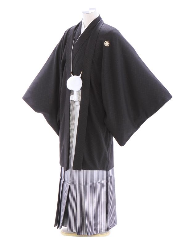 紋付袴327/黒/白シルバー裾黒縞ぼかし