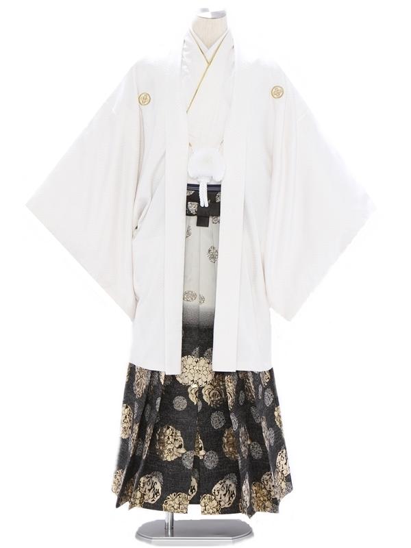 紋付袴298/あじろ織り白/花紋黒グレーぼかし