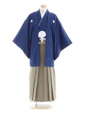 紋付袴45/紺/黄線縞