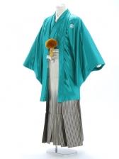 紋付袴220/緑/黒金線ぼかし
