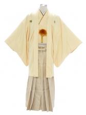 紋付袴235/薄黄色/ゴールドピンクストライプ