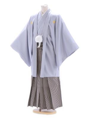 紋付袴296/グレー/黒シルバー白柄