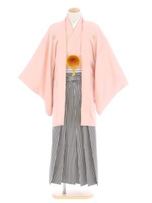 紋付袴151/ピンク/黒シルバー
