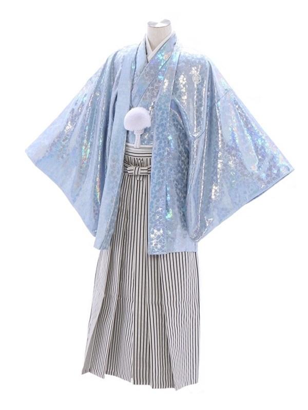紋付袴225/水色/白シルバー黒ぼかし