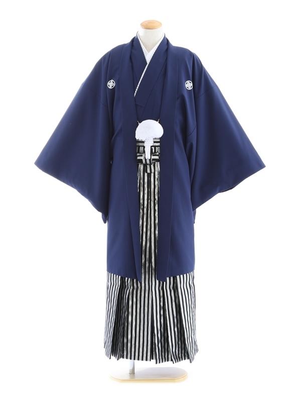 紋付袴182/紺/ラメグリーンシルバーストライプ