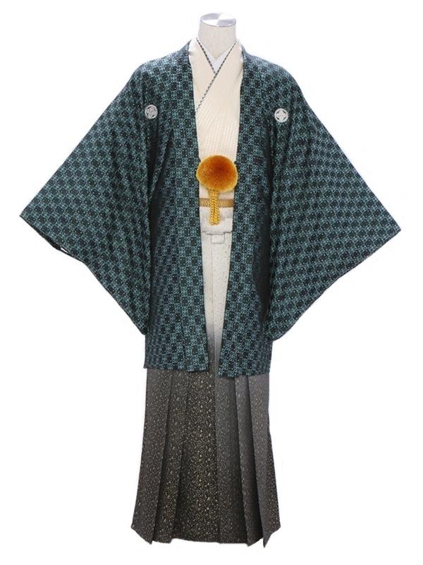 紋付袴318/市松グリーン/金たたきぼかし
