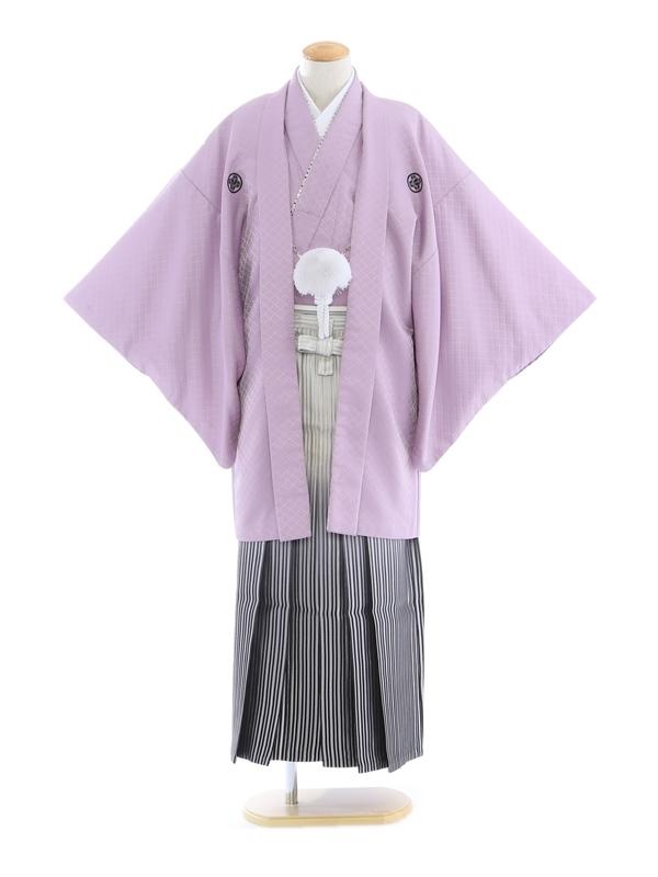 紋付袴167/紫/白シルバー黒ぼかし