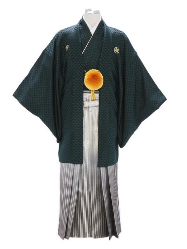 紋付袴110/深緑/黒金線ぼかし