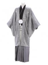 紋付袴333/黒/白シルバー裾黒縞ぼかし